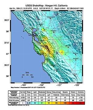 Calaveras Fault - Image: USGS Shakemap 1984 Morgan Hill earthquake