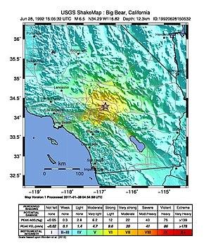 1992 Big Bear earthquake - Image: USGS Shakemap 1992 Big Bear earthquake