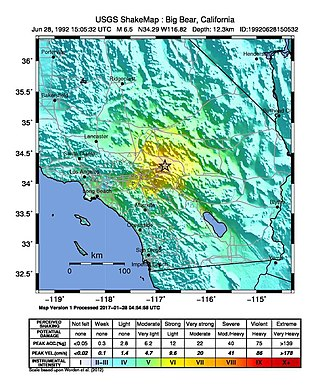 1992 Big Bear earthquake - Image: USGS Shakemap 1992 Big Bear earthquake