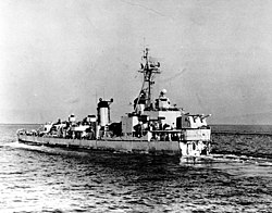 USS Ernest G. Small (DD-838) underway going astern in October 1951, while en route to Japan, after losing her bow off Korea (80-G-708460)