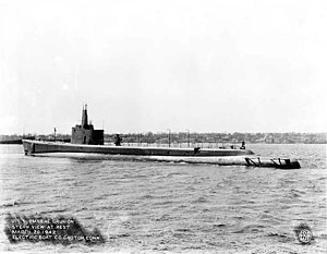 USS Grunion (SS-216), 20 March 1942 at the Electric Boat Co., Groton, CT.