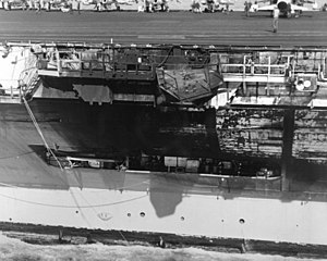 USS John F. Kennedy (CV-67) - A view of damage sustained by the carrier John F. Kennedy when she collided with the cruiser USS Belknap