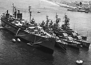 USS Prairie (AD-15) - Prairie with destroyers at San Diego, in 1963.