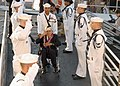 US Navy 021207-N-5024R-003 Pearl Harbor attack survivor Manual H. Magdaleno arrives at the USS Arizona Memorial.jpg