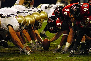 Hard count (gridiron football) - The defensive and offensive lines square off prior to a snap