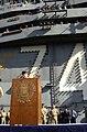 US Navy 040714-N-5024R-017 Commander Pacific Fleet, Adm. Walter F. Doran, addresses the crew of the aircraft carrier USS John C. Stennis (CVN 74) on the flight deck during an all hands call.jpg
