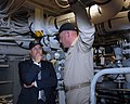 US Navy 081125-N-7631T-002 Cmdr. Kurt Kastner, commanding officer of the amphibious transport dock ship USS San Antonio (LPD 17) shows Secretary of the Navy the Honorable Dr. Donald C. Winter the repairs recently conducted aboa.jpg