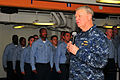 US Navy 100106-N-3327M-196(1) Chief of Naval Operations (CNO) Adm. Gary Roughead speaks to Sailors before a reenlistment ceremony.jpg