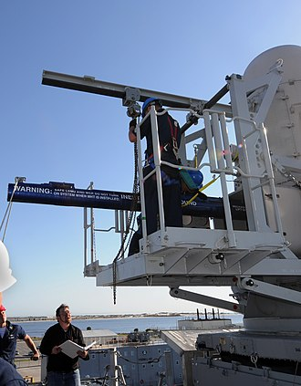 Independence-class littoral combat ship - Crew loading a SEARAM missile launcher