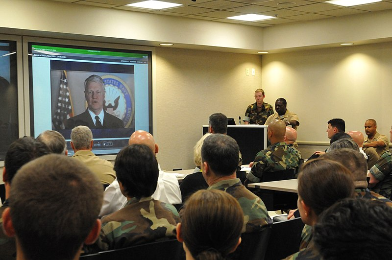 US Navy 110406-N-YS896-005 Naval Special Warfare Command personnel watch Chief of Naval Operations (CNO) Adm. Gary Roughead during Don%27t Ask, Don%27t.jpg