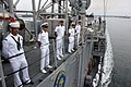 US Navy 110916-N-ZI300-138 Sailors aboard the guided-missile frigate USS Thach (FFG 43) man the rails while arriving in homeport at Naval Base San.jpg