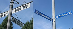 University Endowment Lands - Street signs are commonly used to identify UBC's boundaries within the UEL. To the left is a regular UEL street sign, and to the right is UBC's street sign.