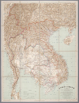 Auguste Pavie - Map of Indochina, related to the Missions Pavie