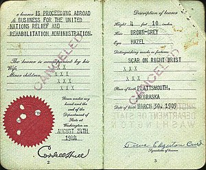 United Nations Relief and Rehabilitation Administration - 1944 special passport issued to an UNRRA official