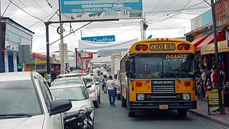 Transport in Nicaragua - Former school bus at Ferrecalle in Estelí used as urban bus on the line from Hospital to Oscar Gamez.