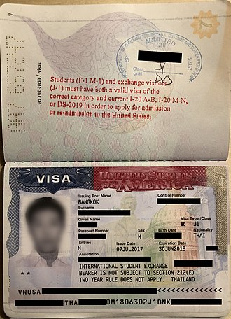 J-1 visa - J-1 visa of the United States in exchange student's passport from Thailand