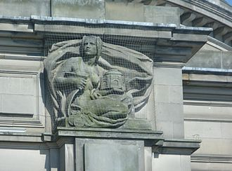 Usher Hall - 'Municipal Benificence'- one of the sculpted figures on the facade of the Hall