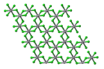 Plan view of a single layer in the crystal structure of vanadium(III) chloride