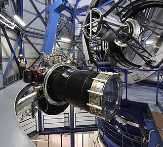 VISTA (telescope) - The three-tonne VISTA infrared camera hangs in the air in front of the telescope.