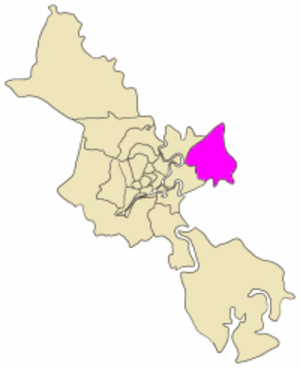 District 9, Ho Chi Minh City - Map showing the location of District 9 within metropolitan Ho Chi Minh City