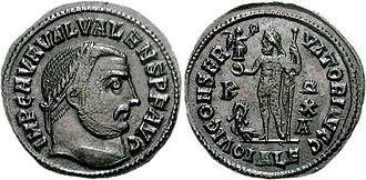 Valerius Valens - Follis of Valerius Valens struck in Alexandria