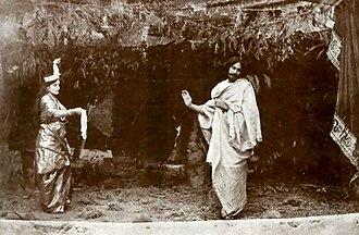 Rabindra Sangeet - Rabindranath Tagore (right) and Indira Devi Chaudhurani (left) in Valmiki-Pratibha opera