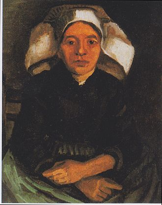 Peasant woman, seated, with a white hood, painted in Nuenen in December 1884 by Vincent van Gogh (1853-1890). Born in Groot-Zundert, van Gogh was a Dutch post-Impressionist painter whose work, notable for its rough beauty, emotional honesty and bold color, had a far-reaching influence on 20th-century art. Van Gogh - Bauerin, sitzend, mit weisser Haube.jpeg