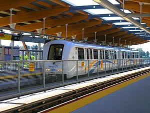 History of the SkyTrain - A first-generation Mark II SkyTrain at Rupert Station, Millennium Line