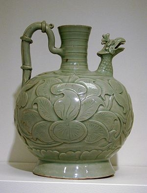 "Yaozhou ware - Ewer with chicken-head spout, a distinctive type in Yue ware, then in Northern Celadon. Yaozhou  ""Dong ware"", around 960, carved and incised."