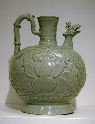 Fenghuang - A vase with a phoenix-headed spout, gray sandstone with celadon coating, Song Dynasty, last half of 10th century.