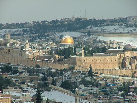 "Israel's 1980 law declared that ""Jerusalem, complete and united, is the capital of Israel."" View from Tayelet during Snow 07.jpg"