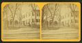 View of a gathering in front of a large building and stables, from Robert N. Dennis collection of stereoscopic views.png