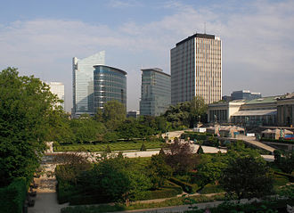 Northern Quarter (Brussels) - Skyline of the Northern Quarter with the Botanical Garden of Brussels in the foreground