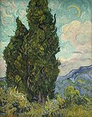 A painting of two large cypress trees, under a late afternoon sky, with a crescent moon.