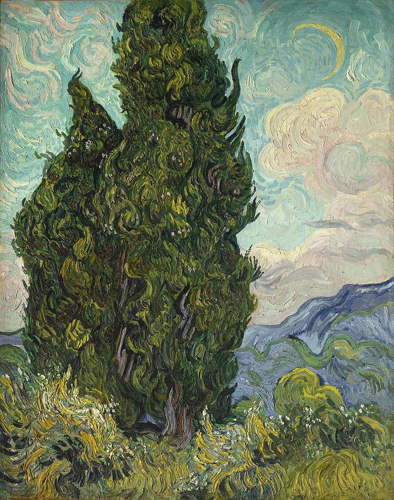 A painting of two large cypress trees, under a late afternoon sky, with a crescent moon