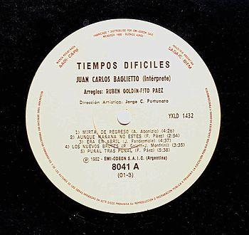 Vinilo de Tiempos dific%C3%ADles - Baglietto - 1982