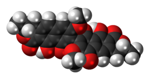 Space-filling model of the viomellein molecule...
