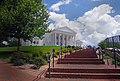 Virginia State Capitol with walkway from Bell Tower.jpg