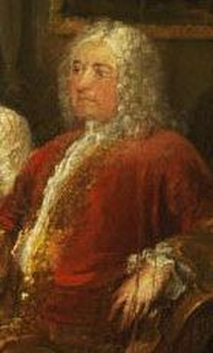 Richard Child, 1st Earl Tylney - Richard Child when Viscount Castlemain, circa 1728. Detail from The Assembly at Wanstead, by Hogarth (see full size below)