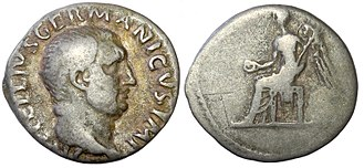 Vitellius - Vitellius' denarius, minted in 69 AD during the Year of the Four Emperors.
