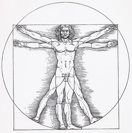 Ancient Roman architect Vitruvius described in his theory of proper architecture, the proportions of a man.