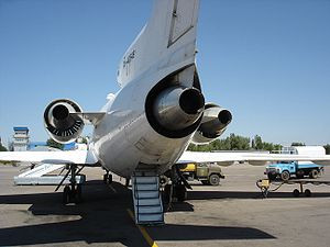 Yakovlev Yak-42 - Yak-42 seen from behind with rear airstair deployed