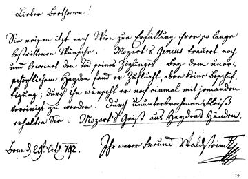 Lettre de Waldstein à Beethoven, 29 octobre 1792: «Recevez des mains de Haydn l'esprit de Mozart».