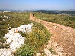 Jesus Trail - Walking the Jesus Trail soon after Nazareth, on the stone to the left a Jesus Trail mark