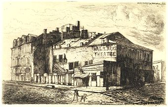 etching of the 13th St. theatre, from the rear