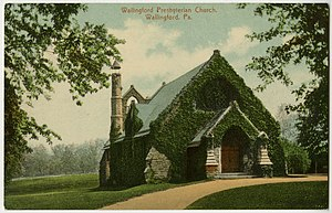 Nether Providence Township, Delaware County, Pennsylvania - Wallingford Presbyterian on an old postcard