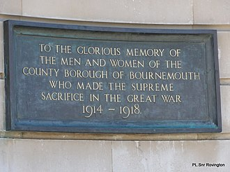 Bournemouth War Memorial - Image: War memorial Bournemouth panoramio (1)
