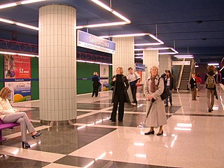 metro station in Warsaw, Poland