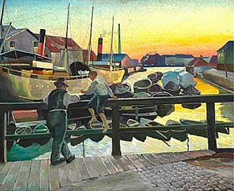 Edvard Weie - Boats at the Quay in Christianshavn