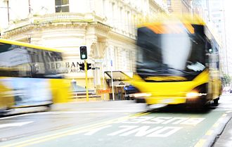 Public transport in the Wellington Region - Buses in front of the Old Bank Arcade